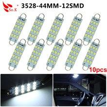 10 pces festoon 44mm led luzes do carro branco 12 smd led laço rígido 1.73
