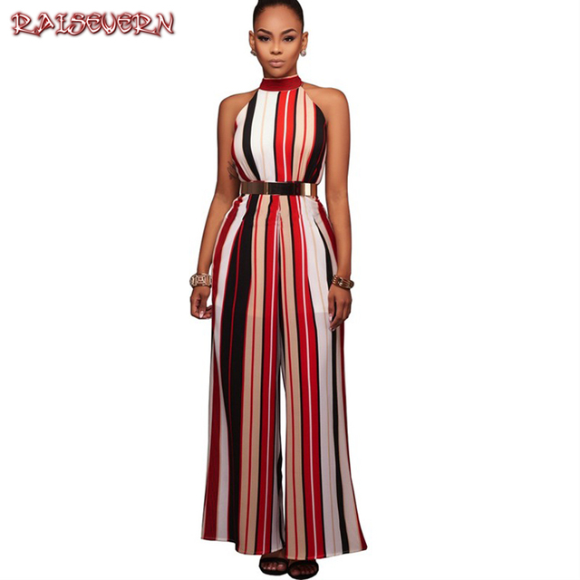 88567d8f8be03 RAISEVERN Summer Romper Women Jumpsuit Sexy Ladies Casual Elegant Loose Office  Sleeveless Striped Halter Long Plus Size Overalls