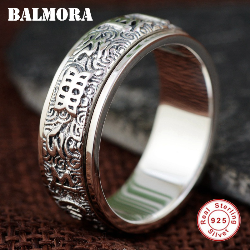 BALMORA 100% Real 925 Sterling Silver Buddhistic Six Words' Mantra Rotatable Rings for Women Men Lovers Gifts Jewelry SY22001 925 silver buddha rings for men women jewelry six words of mantra 100