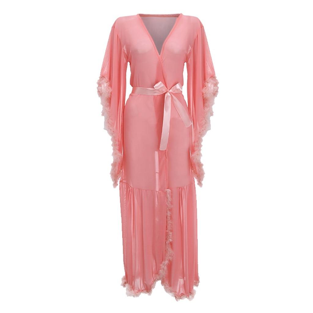 Women Sexy Long Robe Bathrobe Plush Splice Long Sleeve Lingerie Sleepwear With Belt Pajamas Fashion Female Bathrobes