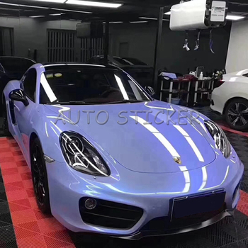1.52*20M Glossy Candy Vinyl Film Double Colors Glossy Grey Blue Candy Car Wrap Sticker With Air Bubble Free
