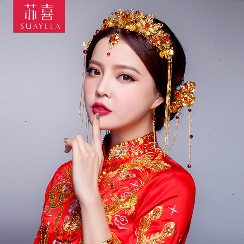 Bride costume hair accessory set chinese style wedding coronet hair accessory dragon gown ...