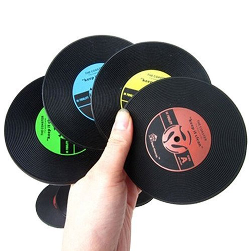 6pcslot drinks coasters glass disc mat cup vinyl pad gift black insulation mat kitchen gift cool table decoration ss6