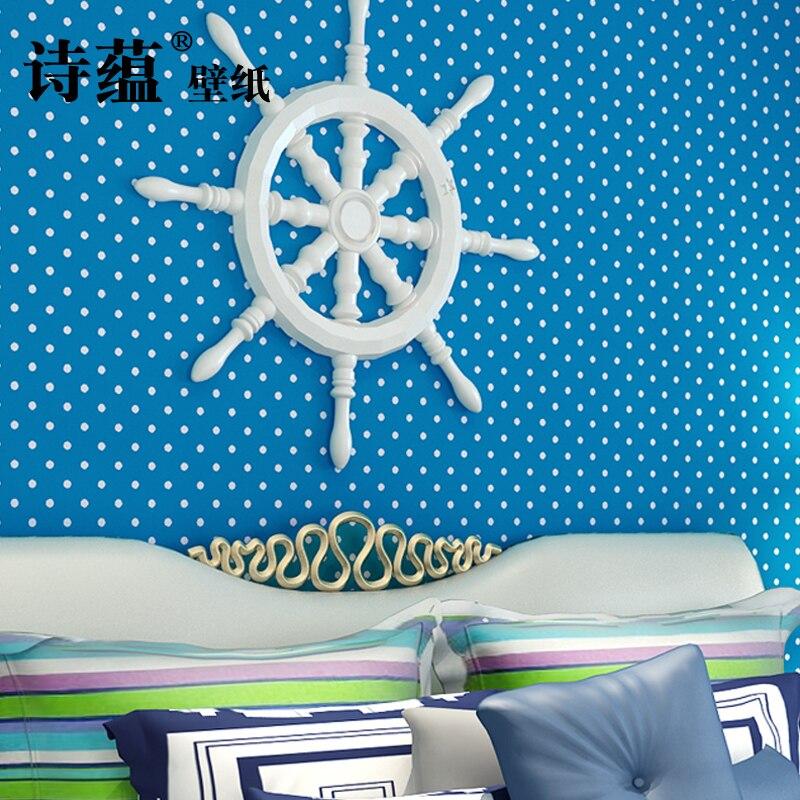 Nouveau imperméable à l'eau enfants mur décor à la maison papier peint chaud Nonwovens papier peint Globe rose blanc cercle Dot mignon dessin animé papier peint