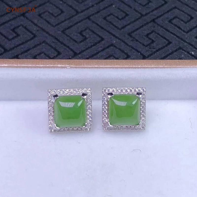 Certifié naturel Hetian Jade Jasper incrusté 925 argent Sterling à la main chanceux Jade boucles d'oreilles vert de haute qualité merveilleux cadeaux