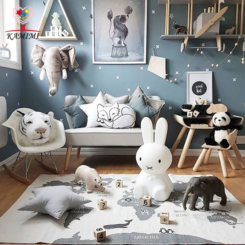 Baby blanket world map floor mat kamimi new baby bedroom for Animal room decoration games