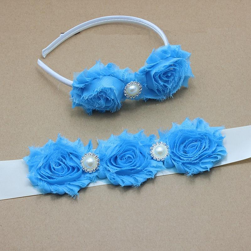 Kék kopott virág elefántcsont Sash öv koszorúslány virág - Ruházati kiegészítők