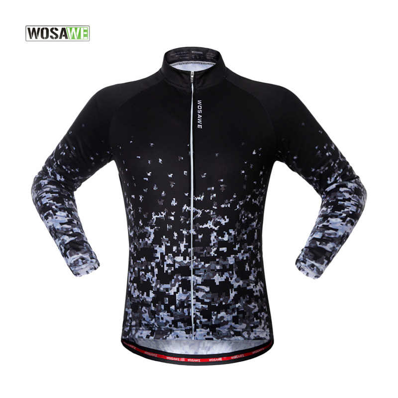 WOSAWE Spring Autumn Long Sleeved Cycling Jersey Unisex MTB Road Bike Jacket Quick Dry Sport Riding Jerseys Clothes
