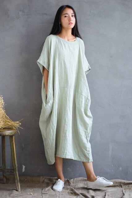 21db470f8fa2 Summer Ultra Loose Short Bat Sleeve Wide Hip Cotton Linen Dress ...