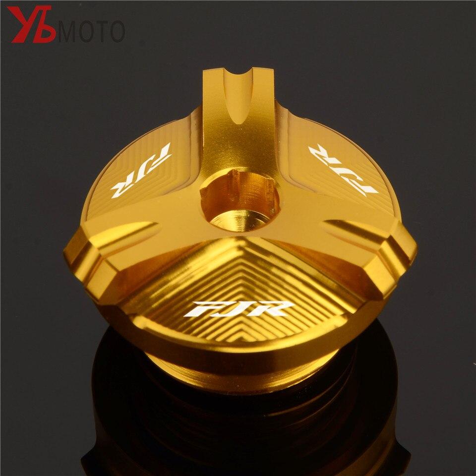 Rápido y envío gratis, cubierta de relleno de tornillo de Tapa de aceite de motor CNC para motocicleta compatible con YAMAHA FJR1300 FJR 1300 con logotipo láser De taza de aceite para Yamaha dt125 xt600 fjr1300 tdm850 xmax300 ybr125 aerox yz250f r1 2004 dt yz250 mt03 raptor700 fz16 bws