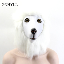 GNHYLL Samoye white Poodle Head dog Mask Adult Realistic Animal Latex Halloween Cosplay Props Party Masks