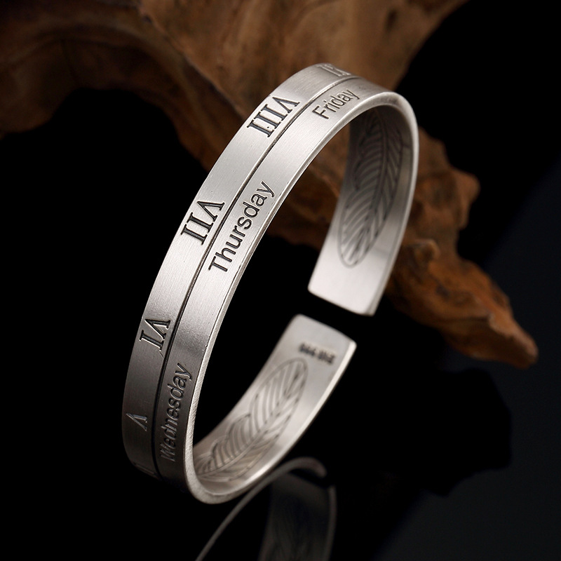 2018 New Bangle Pure Silver, Old Alphabet, Feather, Personality, Jog, Sterling Men