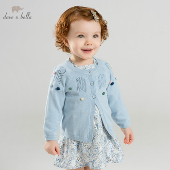 DBM9889-1 dave bella spring infant baby girls fashion cardigan kids toddler coat children boutique blue knitted sweater image