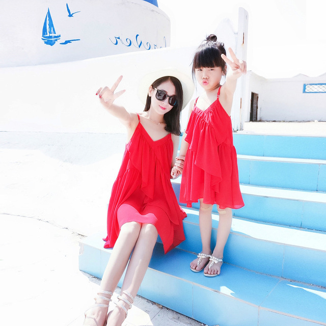 1pc Family Matching Outfits mother daughter red Harness dress Knee