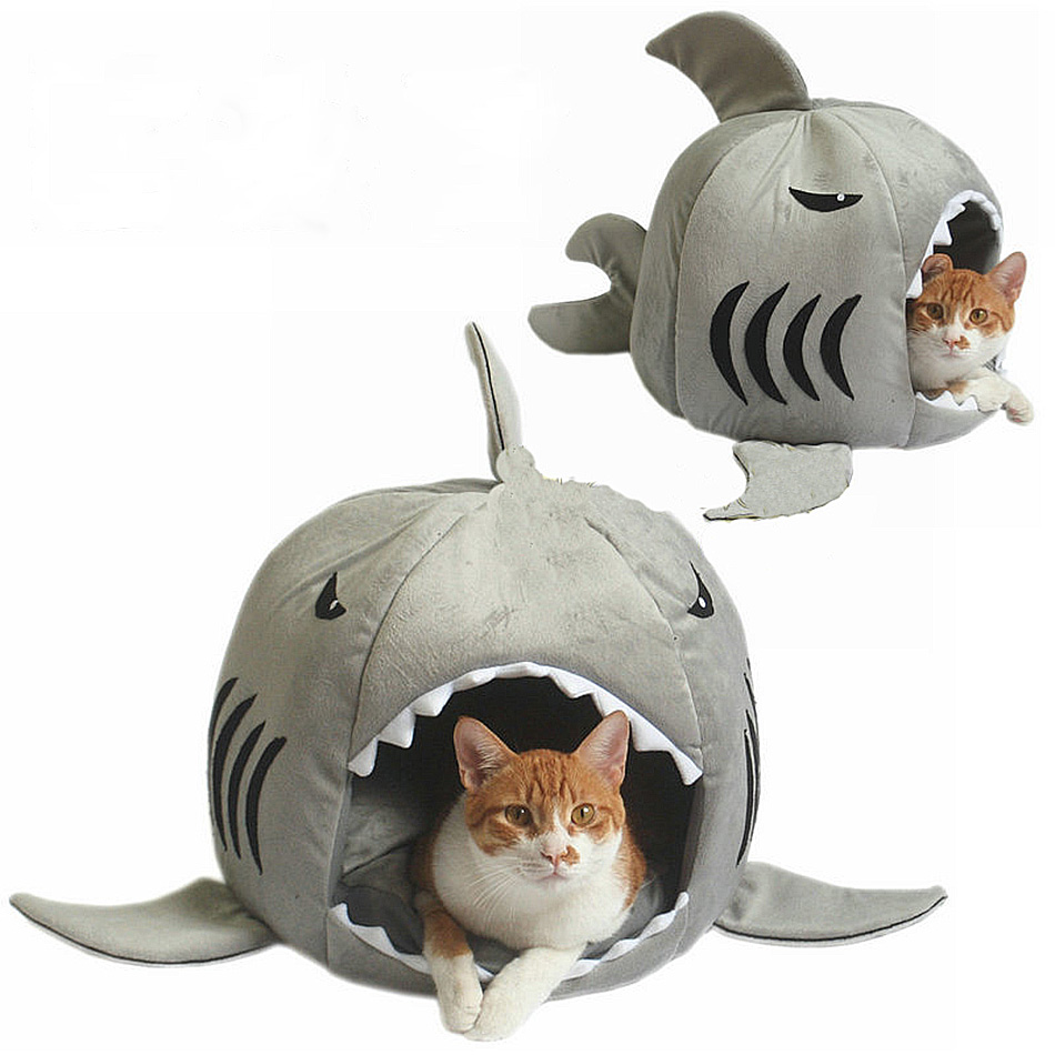 42*40cm Pet Dog Sleeping Bag Shark Kennel Cat Bed Cave Plush ...