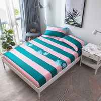 Color Stripe Stripe Pattern 3Pcs 160x200cm Fitted Sheet With An Elastic Band Bed Sheets Linen Bedspread Cotton Mattress Cover