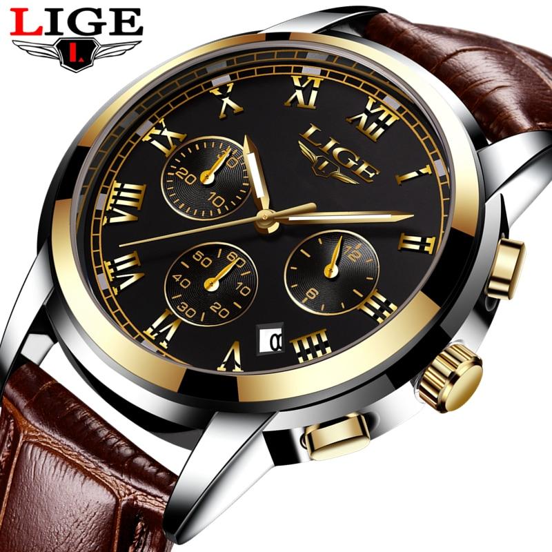 2017 LIGE Men sports Watches Male Fashion Business quartz-watch Men Leather Waterproof Clock Man Auto Date Multifunction Watches lige horloge 2017