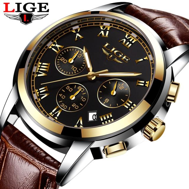 2017 ליגע גברים ספורט שעונים זכר אופנה עסקי קוורץ שעון גברים עור עמיד למים שעון גבר אוטומטי תאריך משולב שעונים