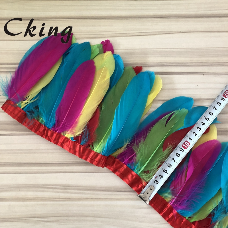 Image 5 - Free Shipping 14 Meters Multicolors Goose Feather Trimming 13  20cm Height Goose Feather Fringes on satin Ribbonsfeather fringegoose  feather trimfeather trim