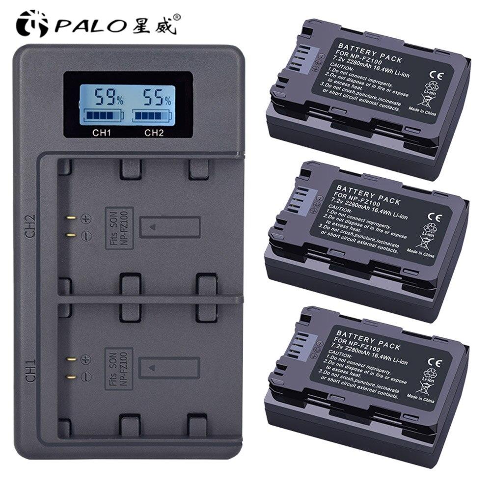 NP-FZ100 NPFZ100 NP FZ100 Battery + LCD Dual USB Charger For Sony NP-FZ100, BC-QZ1, Sony A9, A7R III, A7 III, ILCE-9 NP FZ100