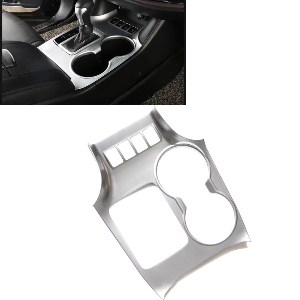 JEAZEA ABS Matte Chrome Cup Drink Holder Gear Shift Panel Cover Trim Frame Fit For Toyota Highlander 2015 2016 2017 LH Car styli
