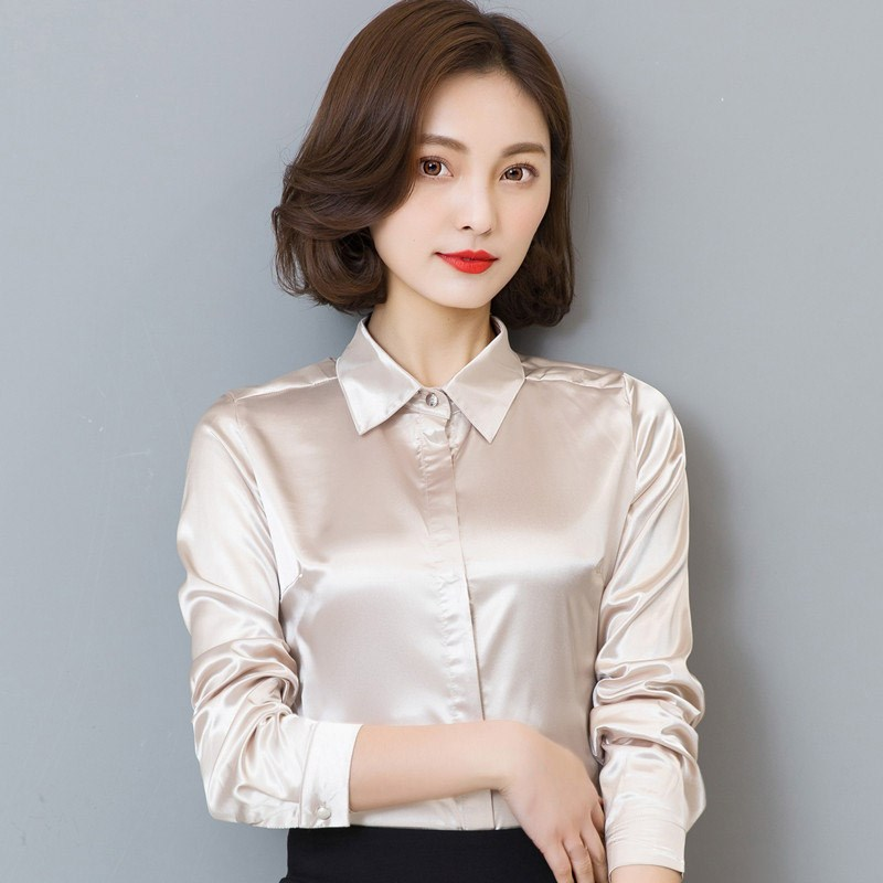 Autumn Women Satin Silk Shirt Long Sleeve Elegant Work Wear Tops Korean Fashion Office Lady Blouse