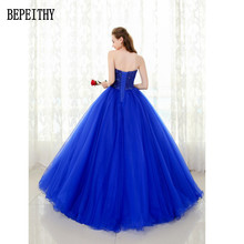 BEPEITHY Custom Made Sweetheart Tulle Floor-Length Beads Sequins Ball Gown Royal Blue Quinceanera Dress Prom Dresses