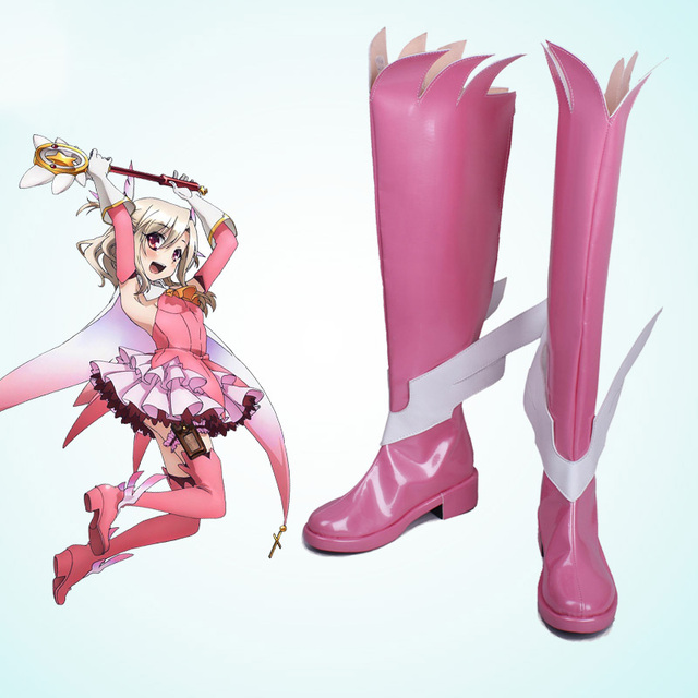 Fate/kaleid liner Prisma Illya Illyasviel von Einsbern Cosplay Zapatos Kawaii Rosa Ángulo Alas Botas Nueva Costumbre