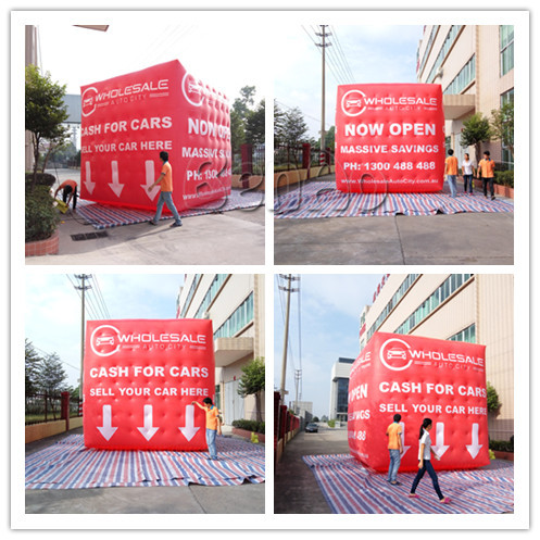 AO696 Free shipping Custom Inflatable Helium Square Cube Balloon,Giant Inflatable Cube Helium Advertising Balloon with 4 sides