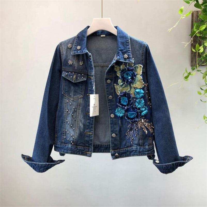 2019 style européen femmes mode lourd perlé paillettes fleurs trou denim veste femme basique court veste outwear r945
