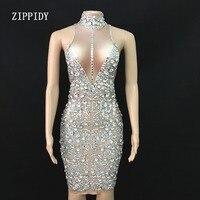 Модные Серебряные стразы большой платье стретч без рукавов Блестящие Кристаллы платье сценический для празднования вечеринок цельное пла