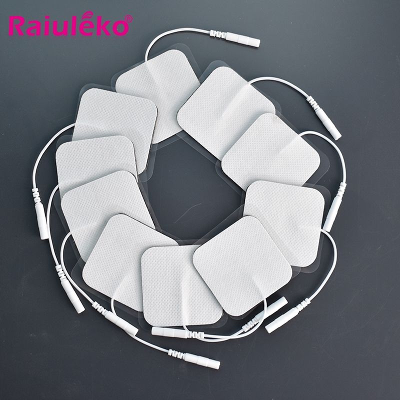 20/10pcs 5x5cm Pin Type Nerve Stimulator Silicone Gel Electrode Pads Tens Electrodes Digital Therapy Machine Massage 2mm Plug