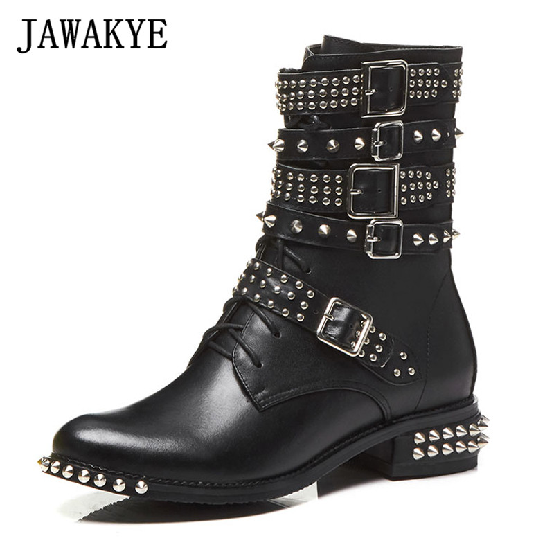 2018 spiked rivets studded ankle Boots for women buckled strap punk style Motorcycle short botas mujer flat heel short boots punk style chunky heel and rivets design women s ankle boots