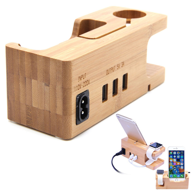 Estación de carga del muelle del cargador del sostenedor del soporte para apple watch iphone 7 más de bambú