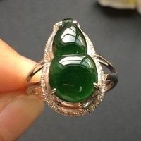 Fine Jewelry Collection Real 18K White Gold AU750 100% Natural Green Jadi Jade Gemstone gourd Rings Burma Origin for Women Gift