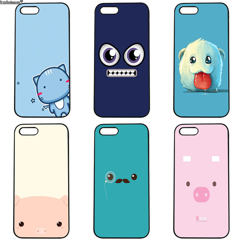 Hard PC Cover Funny Cartoon Lovely Character Face Phone Cases for iphone 8 7 6 6S Plus X 5S 5C 5 SE 4 4S iPod Touch 4 5 6 Shell