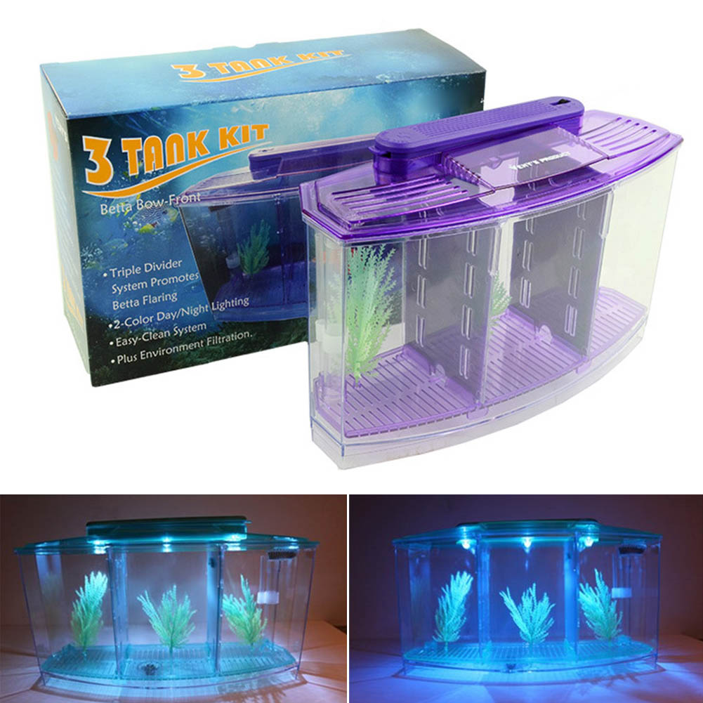 Convenient Lovely Mini Small Fish Tank Aquarium Durable With Grass Acrylic Plastic For Home Office XH8Z AU10