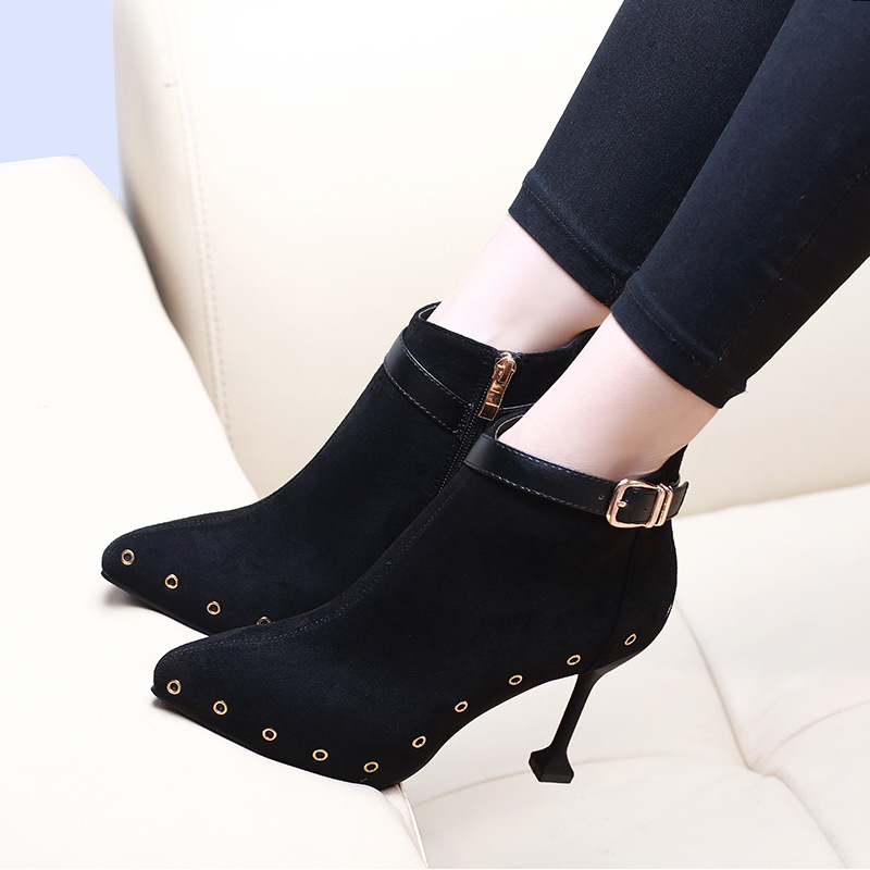 2019 New Arrivals Fashion Women Buckle Ankle Boots Casual Flock Pointed Toe Thin High Heels Party Shoes Woman CH B0112 in Ankle Boots from Shoes