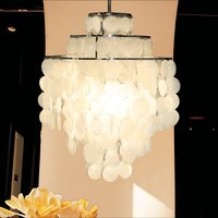 Современные подвесные лампы освещения с круглой Capiz снарядов белый светодио дный люстры для Гостиная Спальня Кухня светильники