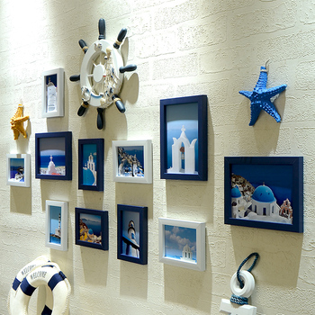 11 unids/set de marco de foto de habitación de estilo mediterráneo cuadro de pared colgante creativo marcos Kit para decoración del hogar marcos para fotos