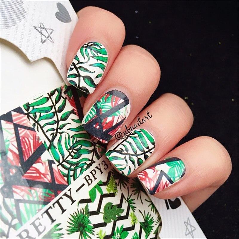 купить 2 Patterns/Sheet BORN PRETTY Green Leaf Nail Art Water Decals Transfer Sticker BPY31 дешево