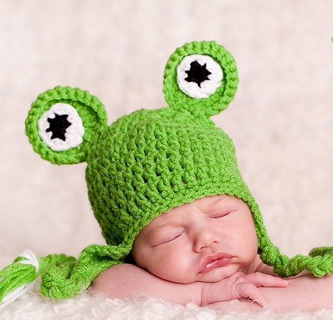 10cff71acec New Baby Boys Knitting Hat Kids Infant Winter Wool Cartoon Frog Hat Newborn  Girls Soft Green Props Baby Cute Weave Hats Tags