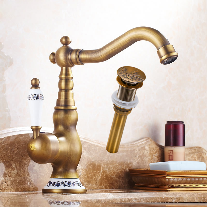 Luxuty Antique Brass Deck Mount Basin Sink Faucet Bathroom Single Handle Vanity Sink Mixer Water Taps with Sink Drain antique brass and golden bathroom washing basin faucet single handle brass short vanity sink mixer taps