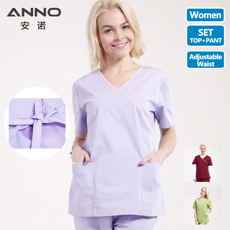 V Neck Nurse Uniform Women Medical Scrubs Set Doctor Suit Hospital Dental Cloths Surgical Uniform Medical Equipment Slim Fit