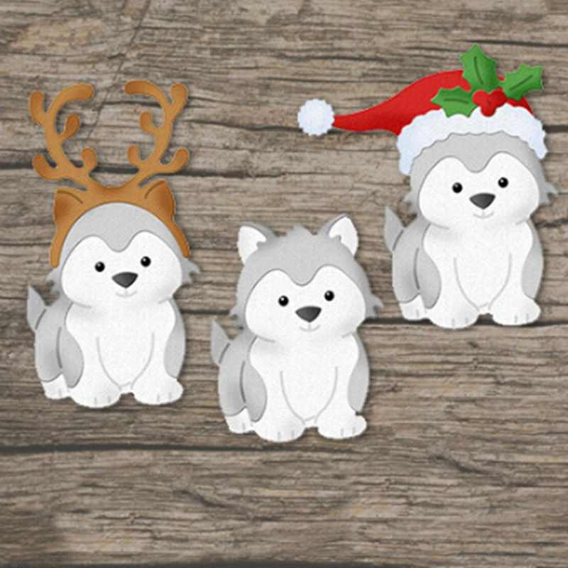 1PCS Christmas Dog Metal Cutting Dies Greeting Cards Scrapbooking Die Stamp DIY Scrapbooking Card Photo Decor Supplies Flowers