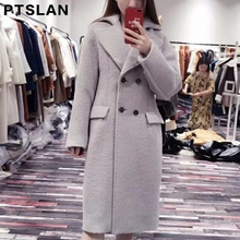 Ptslan Women Alpca Sheep Fur Coat Fashion Women Wool Coat Long Sheep fur Beautiful Women s