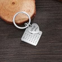 Personalized Calendar Keychain Hand Engraved Calendar Highlighted with Heart Date Stainless Steel Custom Gift
