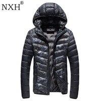 NXH 2017 Winter mannen jassen Hoed Afneembare Mannelijke Warme jassen Winddicht buitenste dragen Rits binnenzak Hooded camouflag