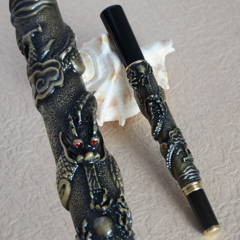 JINHAO 41 ANTIQUE BRASS ROLLER BALL PEN WITH DRAGON EMBOSSMENT CRYSTAL колье maru by safri колье