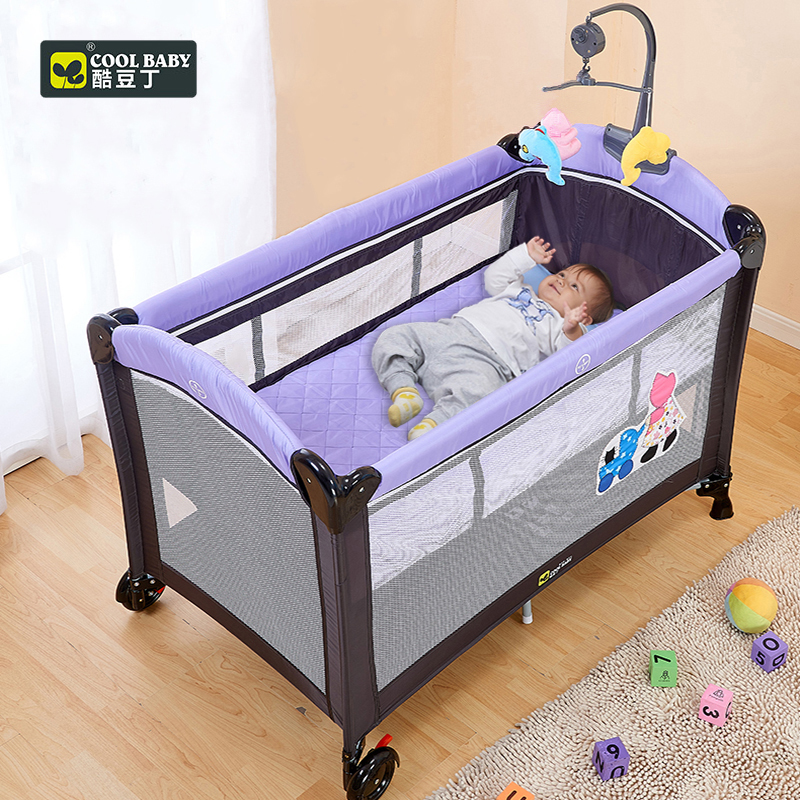 Coolbaby 970 Multifunctional Folding Crib Child Bed Continental Portable Playpen With Mosquito Nets Baby Shaker